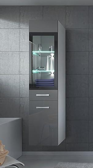 Badezimmer Schrank Rio 131 cm Hochglanz Grau Fronten – Regal Schrank ...