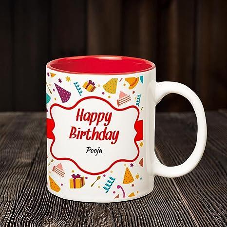 Buy Huppme Happy Birthday Pooja Inner Red Coffee Name Mug Online At
