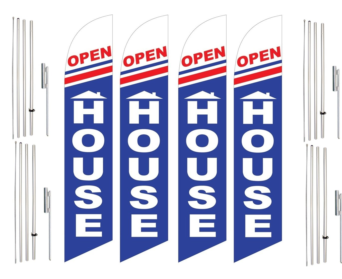Windless Swooper Flag & Pole Kit 4 Pack OPEN HOUSE Home Red White Blue