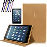 Mignova Folio Case for Amazon Fire HD 8 Tablet (2017 Release 7th Gen) - Ultra Light Slim Fit Protective Cover with Magnetic closure + Screen Protector Film and Stylus Pen (Brown)