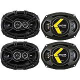 KICKER 43DSC69304DS 6x9 720 Watt 3-Way 4-Ohm Car Audio Thin Profile Coaxial Speakers with Dome Tweeters, Foam Surrounds & Pol