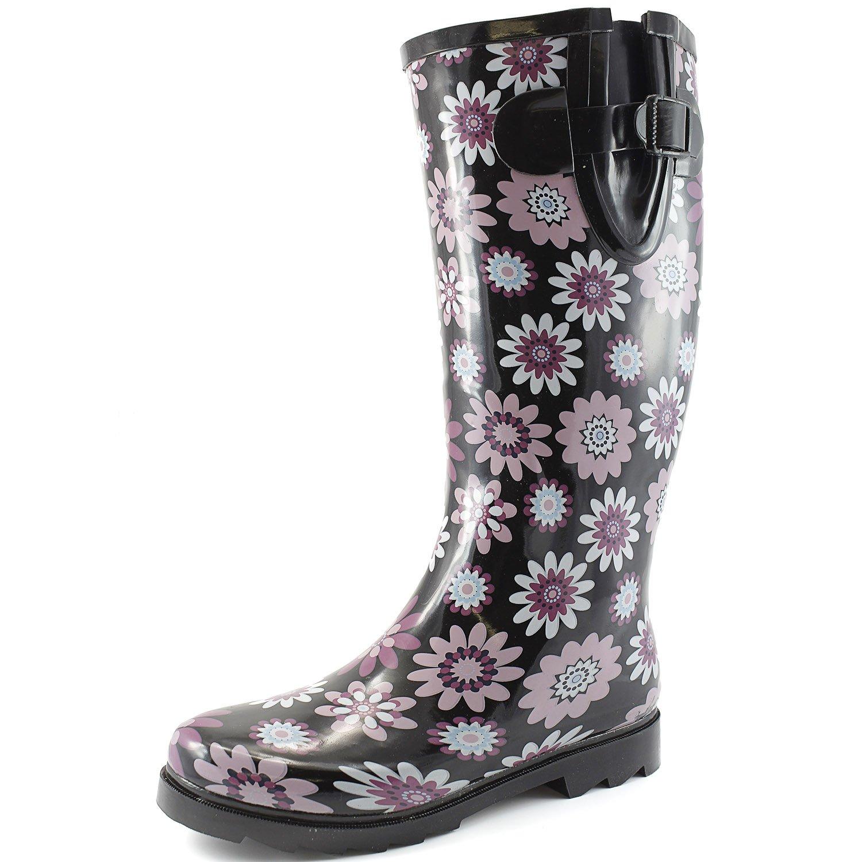 Women's Puddles Rain and Snow Boot Multi Color Mid Calf Knee High Rainboots,Purple Daisy 9 B(M) US
