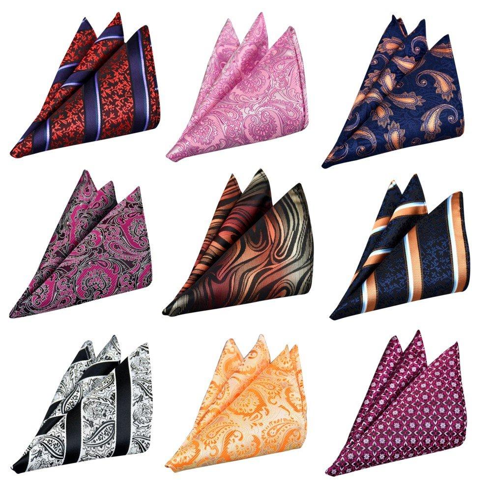 Adulove Men's Pocket Square Handkerchief Assorted Hanky Wedding Party 9 PCS