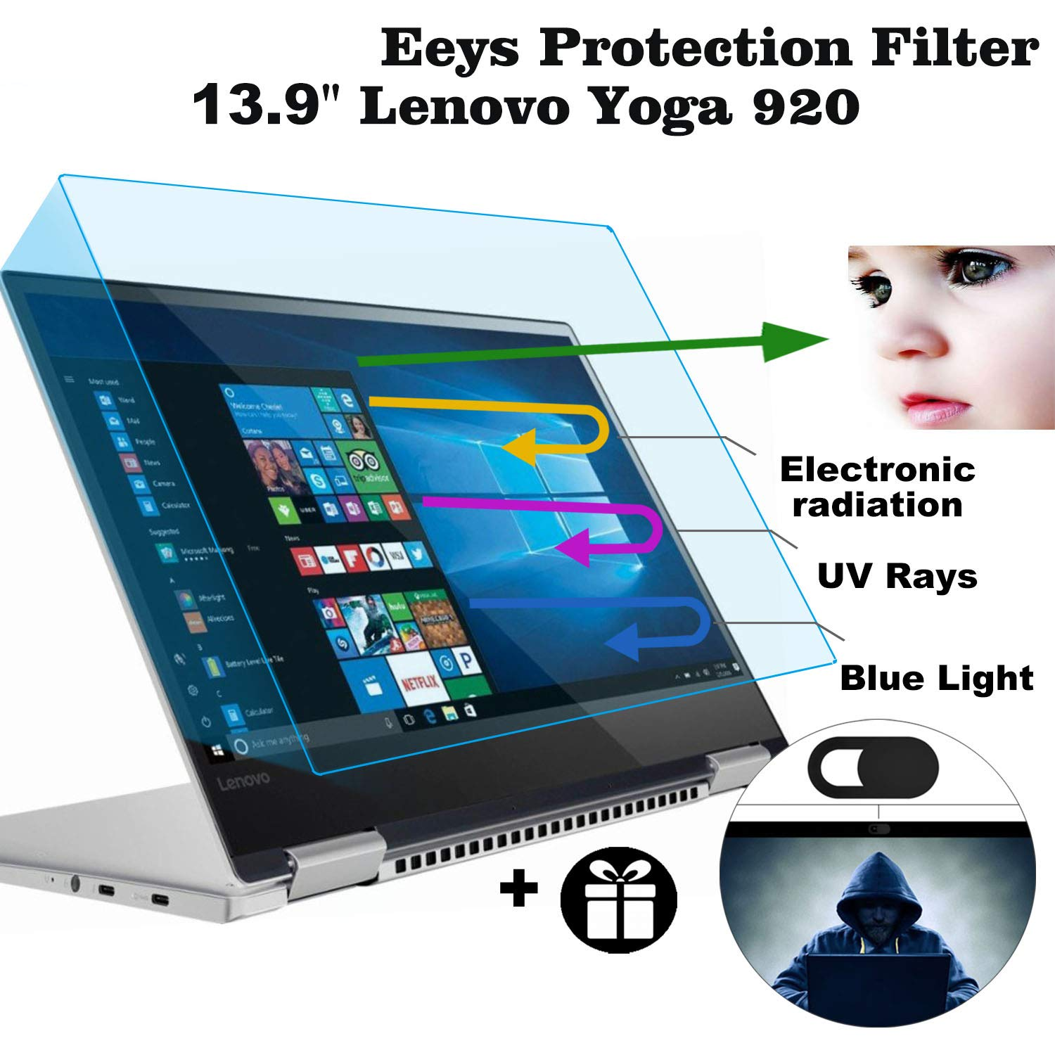 2 Pack Eyes Protection Filter Fit 13.9'' Lenovo Yoga 920 2-in-1 Touch-Screen Laptop, MUBUY 13.9'' AntiBlueLight & Glare Screen Protector Reduces Digital Eye Strain Help You Sleep Better by MUBUY (Image #1)