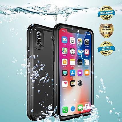 fd3c1994e9e EFFUN Carcasa impermeable para iPhone XS, iPhone X, funda impermeable EFFUN  con soporte de carga inalámbrica certificado IP68 ...