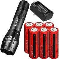 Tokeyla LED Flashlight 5 Working Modes Rechargeable Flashlight With 6 Pack 18650 Rechargeable Battery And 2 Slot 18650…