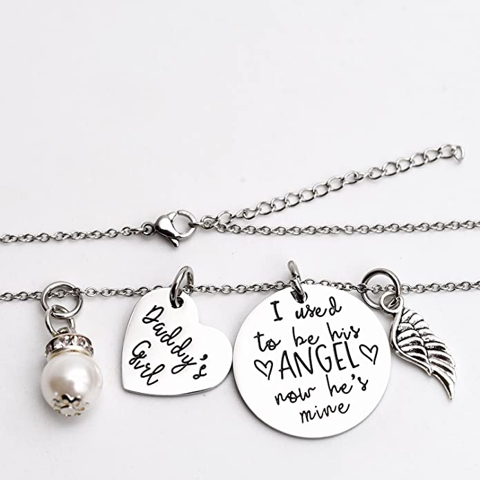 I Used To Be His Angel Now He's Mine Angel Necklace Wing Heart Charm Memorial Jewelry Smpathy Gift Loss Of Dad Father Funeral Gifty qAUQn