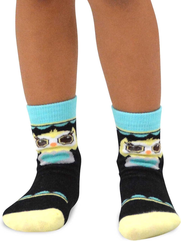 Naartjie 6-8 Years, Owls Face Kids Girls Cotton Fashion Fun Crew Socks 6 Pair Pack TeeHee