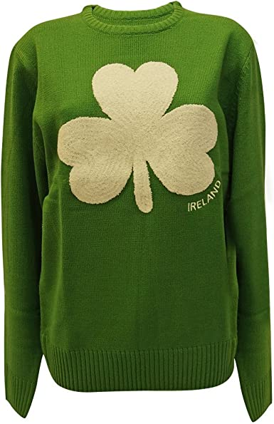 Round Neck Ireland Kids Sweater with Fluffy Shamrock Navy Colour