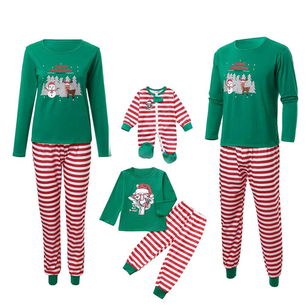 Mambain Pigiama Famiglia Natale Set Pantaloni + Maglietta A Righe Bambino Donna Uomo Neonata Manica Lunga Caldo Natalizio Due Pezzi Tute Famiglia papà Mamma Bambini Sleepwear