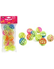 World of pets Plastic cat kitten play balls jingle bell assorted colours pack of 10 games trea