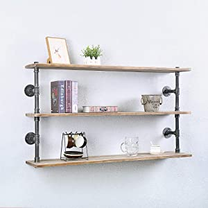 Industrial Pipe Shelf Wall Mounted,Steampunk Real Wood Book Shelves,Rustic Metal Floating Shelves,Wall Shelving Unit Bookshelf Hanging Wall Shelves,Farmhouse Kitchen Bar Shelving(3 Tier,48in)