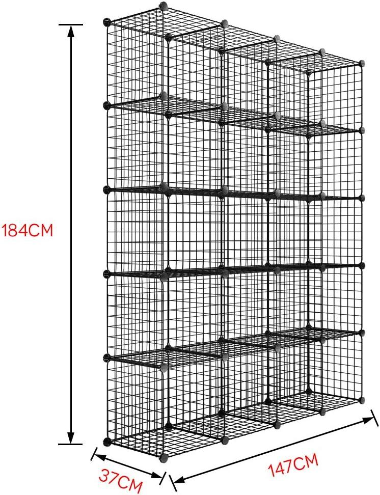 147cm Black 37 LEMAIJIAJU Regalw/ürfel Drahtregal Kleiderschrank Standschrank aus Drahtgitter 12 F/ächer Schrank Regalsystem mit Holzhammer 111