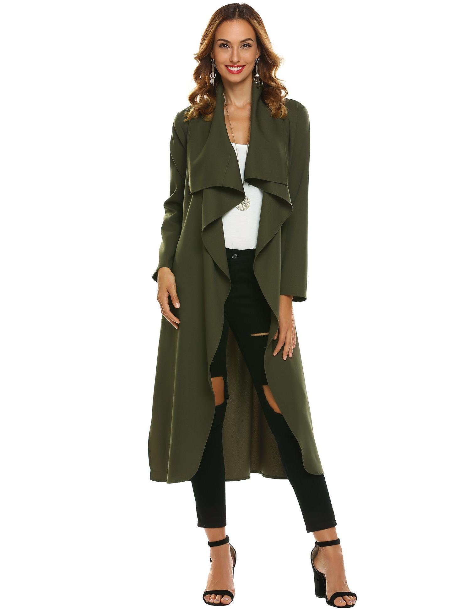 Vansop Women's Front Draped Thin Lightweight Textured Tie Belt Relaxed Fit Soft Trench Coat Jackets