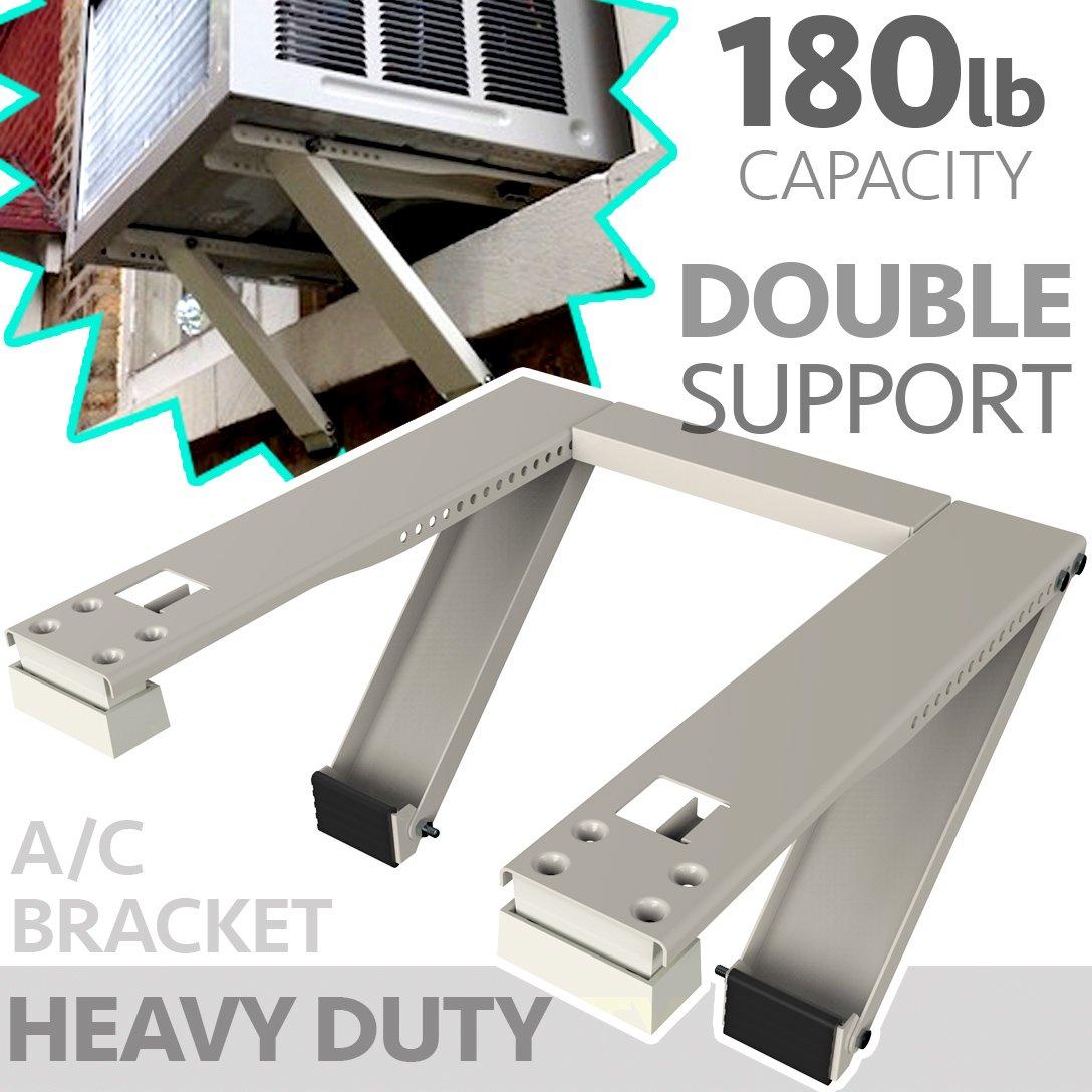 Universal Window Air Conditioner Bracket - Heavy-Duty Window AC Support - Support Air Conditioner Up to 180 lbs. - For 12000 BTU AC to 24000 BTU AC Units (HEAVY DUTY) by ATK