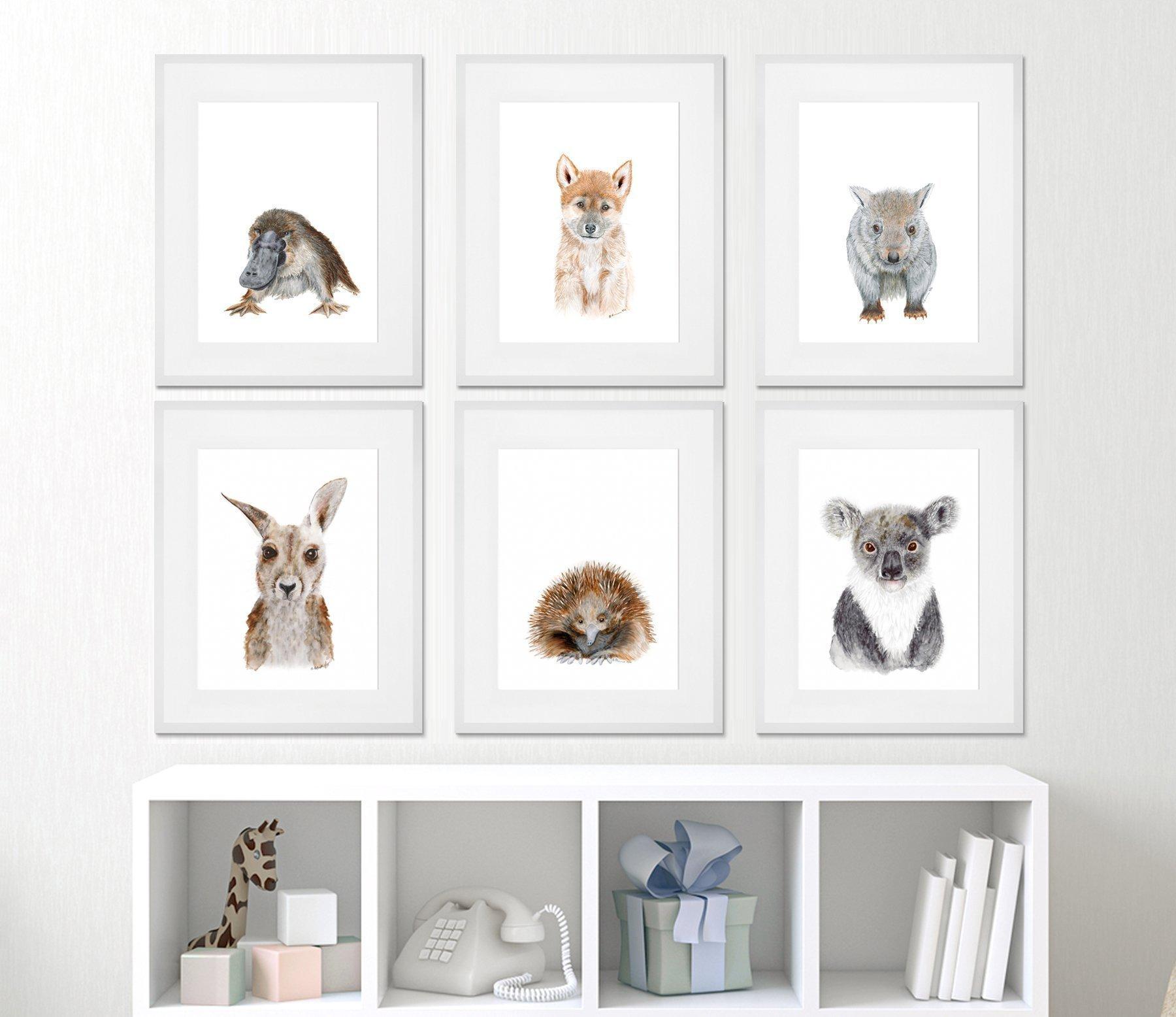 Set of Framed Aussie Animal Prints - Outback Nursery Prints - Framed Prints from Down Under - Animal Nursery - Girl Room Decor