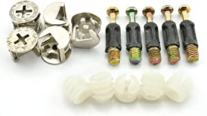 LQ Industrial 5 Sets 15mm Cam Fitting 32mm Dowel 3 in 1 Hardware Connectors Furniture Side Connecting Pre-inserted Nut