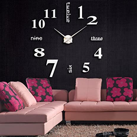 DIY 3D Wall Clock Frameless Modern Acrylic Mirror Metal Small Stickers Clocks Watches Room