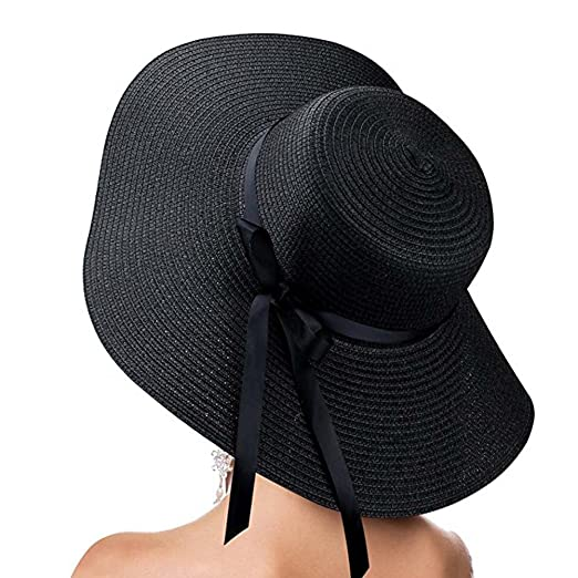 d12667a44 Image Unavailable. Image not available for. Color: Womens Sun Hat Big Brim  Straw Hat Summer Beach Hat Floppy Foldable Bowknot Cap