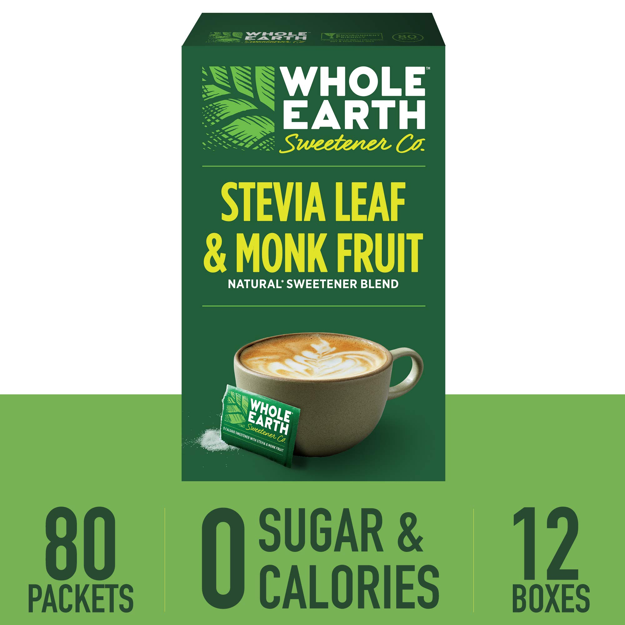WHOLE EARTH SWEETENER CO. Stevia & Monk Fruit Sweetener, Erythritol Sweetener, Sweet Leaf Stevia Packets, Sugar Substitute, Natural Sweetener, 80 Count (Pack of 12) by Whole Earth Sweetener Company