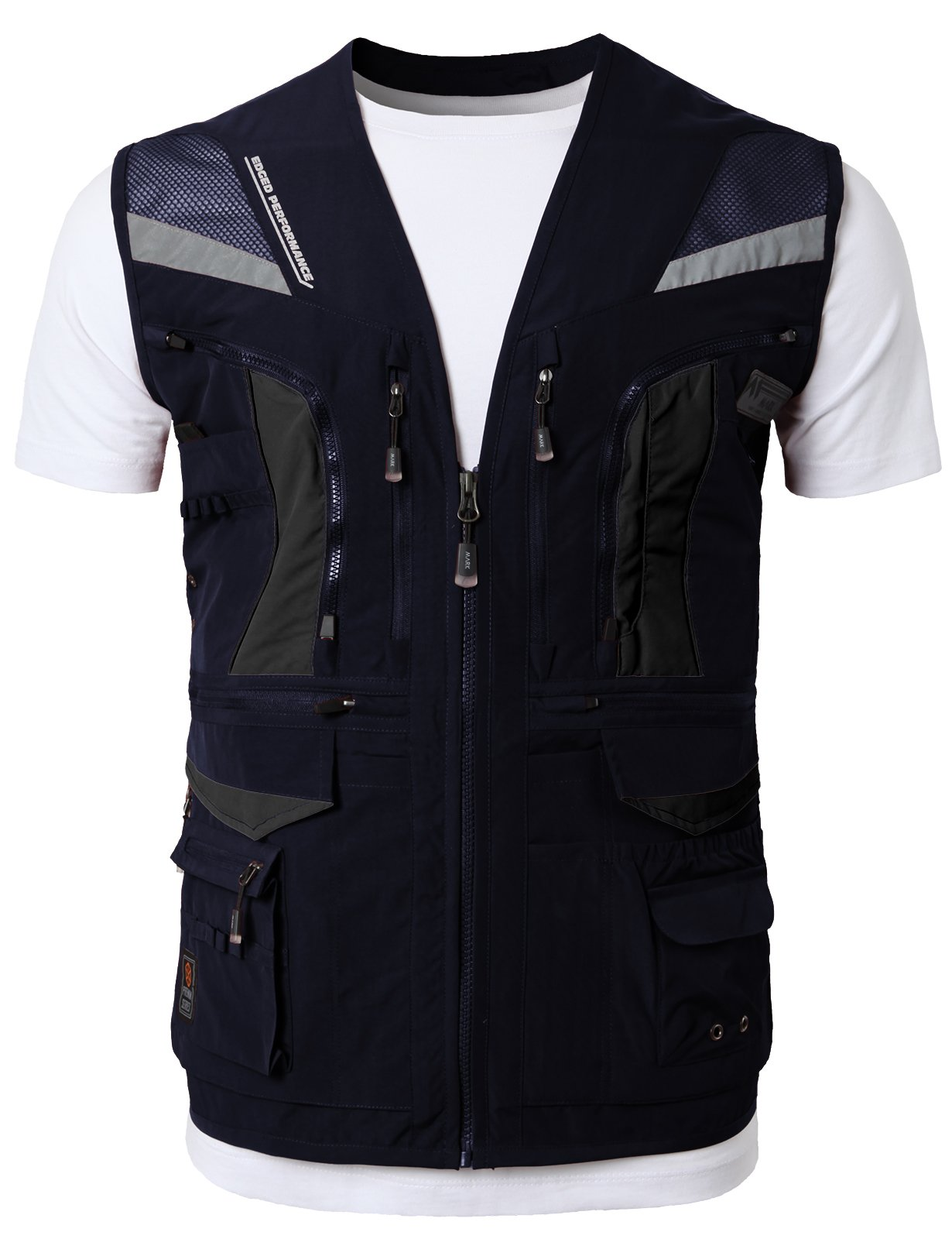 H2H Mens Casual Work Utility Hunting Fishing Vest Travels Sports Mesh Jacket with Multi-Pockets Navy US L/Asia XL (KMOV0144) by H2H (Image #2)