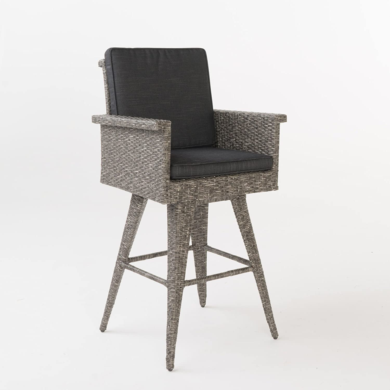 Amazon.com: Puerta Outdoor Wicker Barstool with Cushions by ...