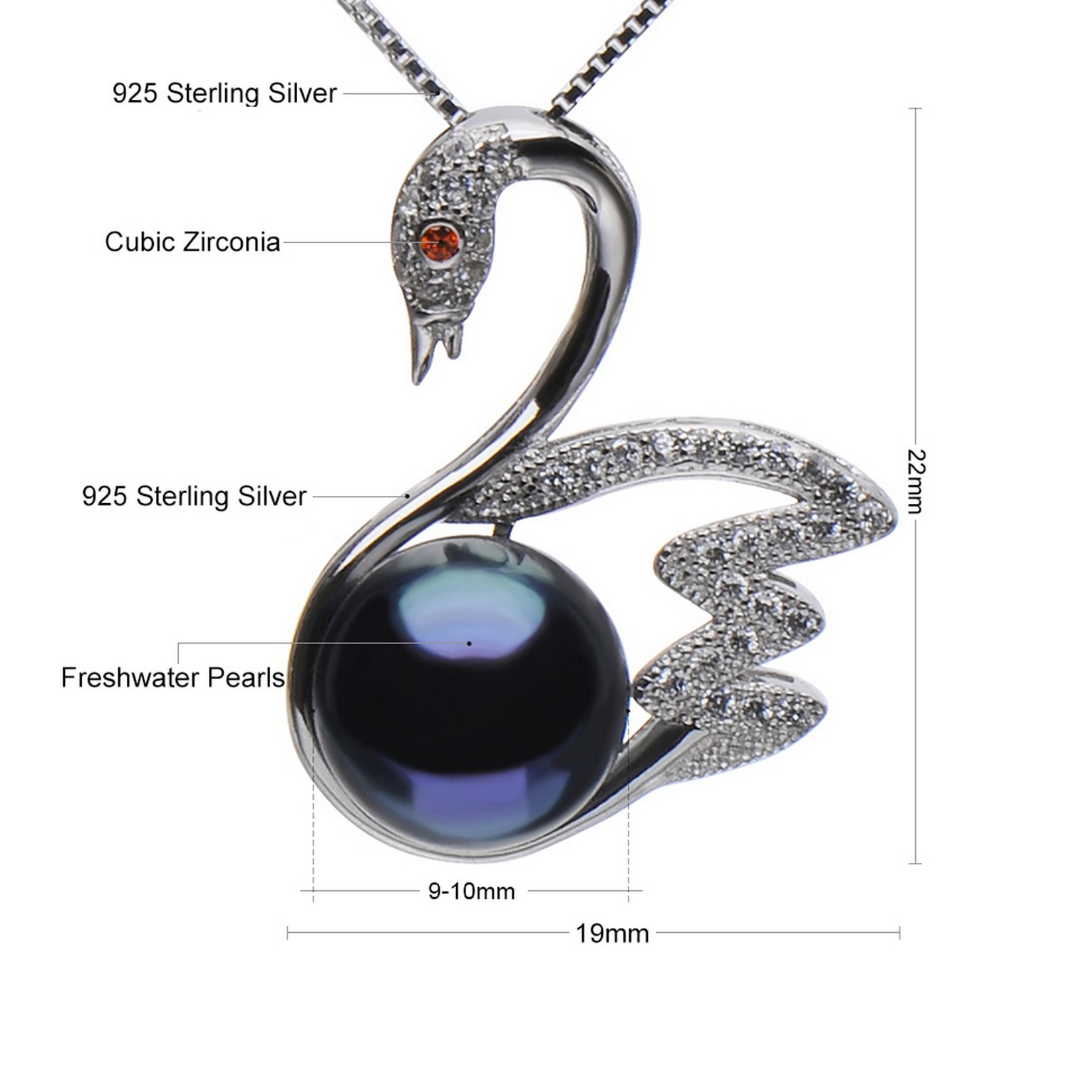 MMC Black Pearl Gift Silver Pendants Necklaces