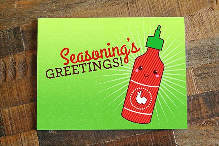 Amazon christmas card or holidays card seasonings greetings christmas card or holidays card quotseasonings greetingsquot sriracha pun card seasons m4hsunfo