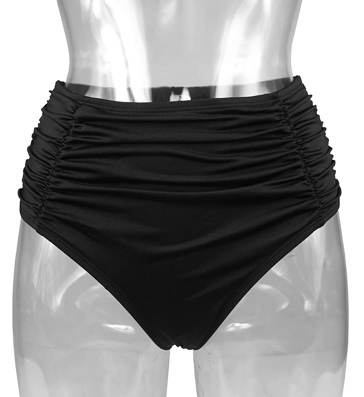 b5fe30c392d73 COCOSHIP Women s Black High Waisted Bikini Bottom Side Ruching Bikini Swim  Brief(FBA)  Amazon.ca  Clothing   Accessories