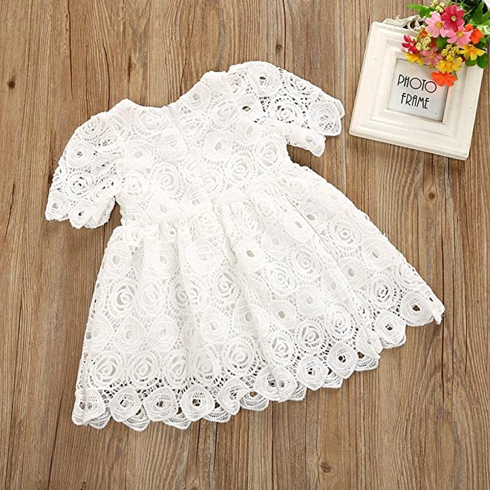 sunnymi 0-24 Months Kids Fashion Newborn Infant Toddler Baby Girls Floral Lace Short Sleeve Princess Formal Dress Outfits