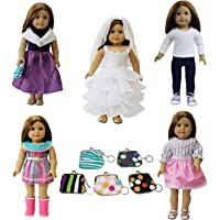 ZITA ELEMENT Doll Clothes LOT 6= 5 Outdoor Casual Outfits Wear +1 Handbag Fits American Girl Doll Clothes, My Life Doll, Our Generation and other 18 inch Dolls Outfit