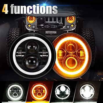 SUPAREE 7 inches LED Jeep Headlights with White Halo Ring Angel Eyes on