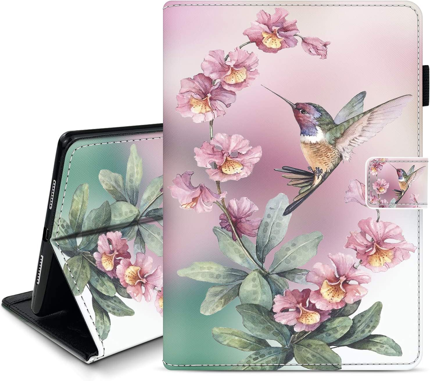 Memoly Case for iPad 10.2 Inch (2020/2019 Model, 8th / 7th Generation),Pink Flowers with Hummingbird iPad Case,Auto Wake/Sleep Cover, Leather