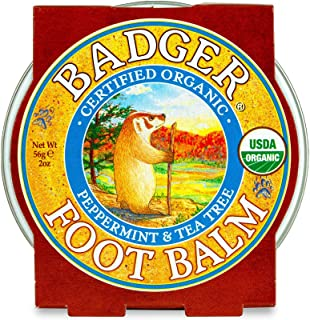 product image for Badger - Foot Balm, Peppermint & Tea Tree, Heel Balm for Dry Cracked Feet, Certified Organic, Foot Balm with Essential Oils, Extra Virgin Olive and Jojoba Oils, 2 oz
