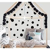 "Polka Dot Wall Decals (63) Girls Room Wall Decor Stickers, Wall Dots, Vinyl Circle Peel & Stick DIY Bedroom, Playroom, Kids Room, Baby Nursery Toddler to Teen Bedroom Decoration 3"" - 6.5"" (Black)"
