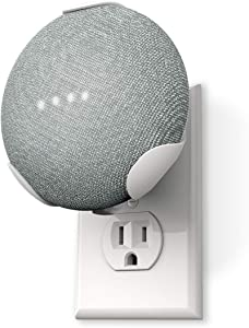 360 Electrical 360580 PowerClip Outlet Mount for Google Home Mini - Google Plug-in Bracket Stand Holder Case, for Kitchen, Bathroom, Bedroom, Living Room, Office, Chalk