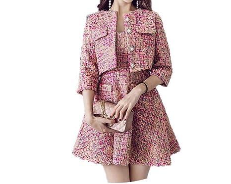 Amazon Com Pink Tweed Short Jacket Vest Dress Suit Pearls Winter