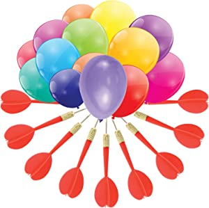 Gamie Dart Balloon Game Jumbo Fun Set Includes 144 Dart Balloons and 11 Plastic Darts with Copper Tips, Exciting Outdoor Game for Children and Adults, Best Carnival, Birthday Party and Backyard Fun