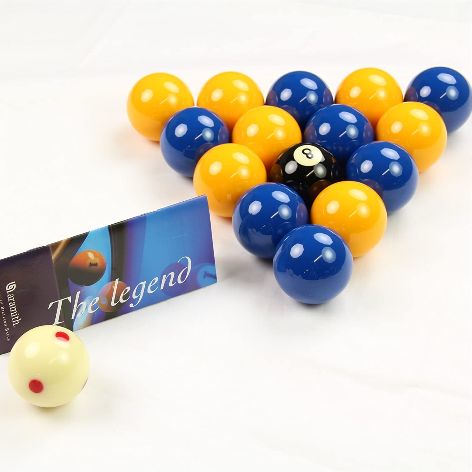 Aramith LEAGUE Edition YELLOW & BLUE Pool Balls - PRO CUP Spotted ...