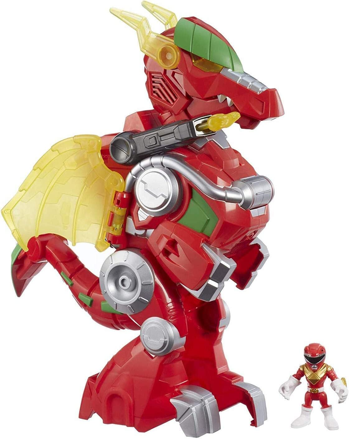 "Playskool Heroes Power Rangers Red Ranger & Dragon Thunderzord, 3"" Action Figure, 14"" Zord, Lights & Sounds, Collectible Toys for Kids Ages 3 & Up"