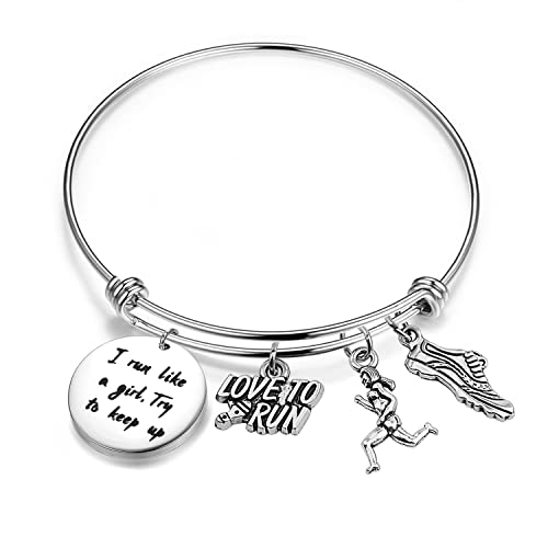 75c124329a08 SEIRAA Runner Bracelet I Run Like A Girl Try to Keep Up Expandable Wire  Bangle Running