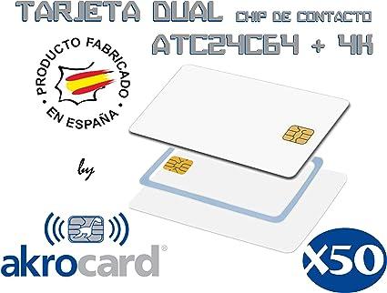 PACK 50 TARJETAS PVC BLANCAS CON CHIP DE CONTACTO - DUAL ...