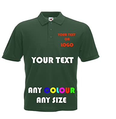 4b842aa77 Fruit of the Loom Personalised Polo Shirts (Front & Back) Idea for Work  wear, Uniform, Clubs, Schools: Amazon.co.uk: Clothing