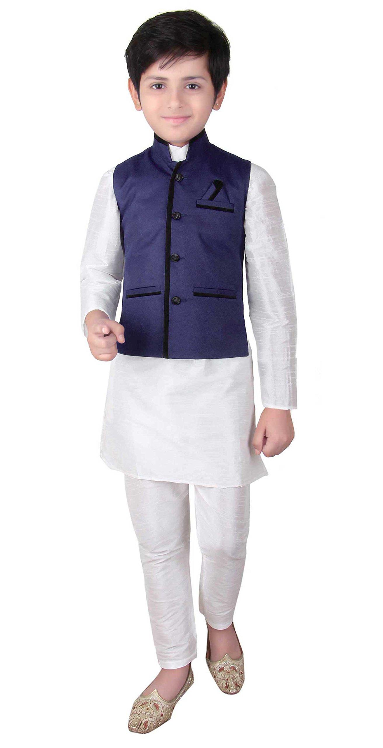 Boys Indian Modi Nehru Gandhi Style Waistcoat for Bollywood them party wear shops London 005 (3 (3 yrs), Navy Blue)