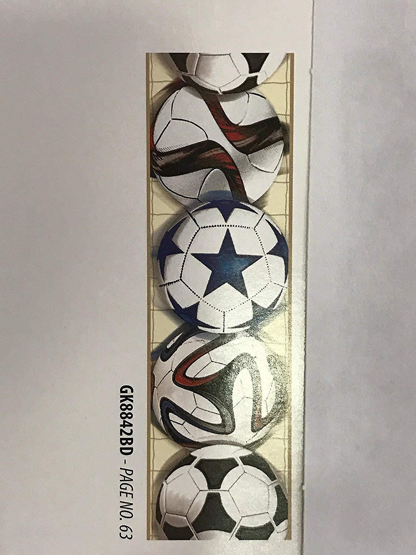 Greca bordo pallone calcio cameretta bambini autoadesivo cm 23 x 4, 57 metri rete beige neutra YORK GK8842BD