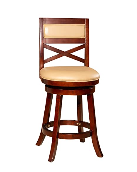 Wondrous Dty Indoor Living Meeker X Back Bonded Leather Swivel Stool 24 Counter Stool Cherry Finish Bone Leather Seat Ibusinesslaw Wood Chair Design Ideas Ibusinesslaworg