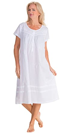 La Cera Women s Short Sleeve Cotton Mid-Length Nightgown at Amazon ... 4692f01a4