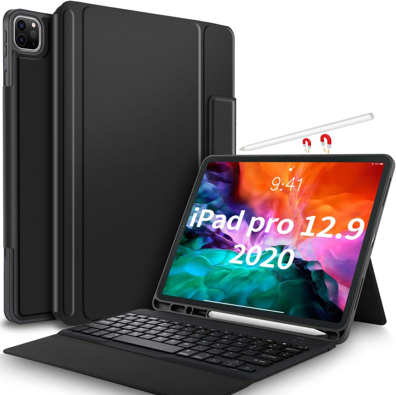 IVSO - Funda con teclado para iPad Pro 12,9 pulgadas 2020, inalámbrica, no extraíble, con función atril, para tablet iPad Pro 12,9 pulgadas 2020 (QWERTZ, diseño alemán), color negro