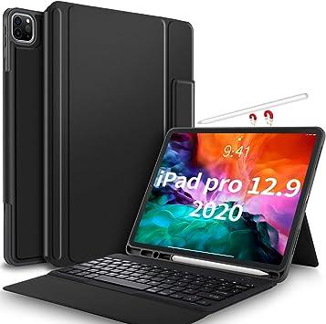 IVSO Funda con teclado para iPad Pro 12.9 2020, teclado inalámbrico no extraíble con función atril para iPad Pro de 12,9 pulgadas 2020 (QWERTZ, idioma ...