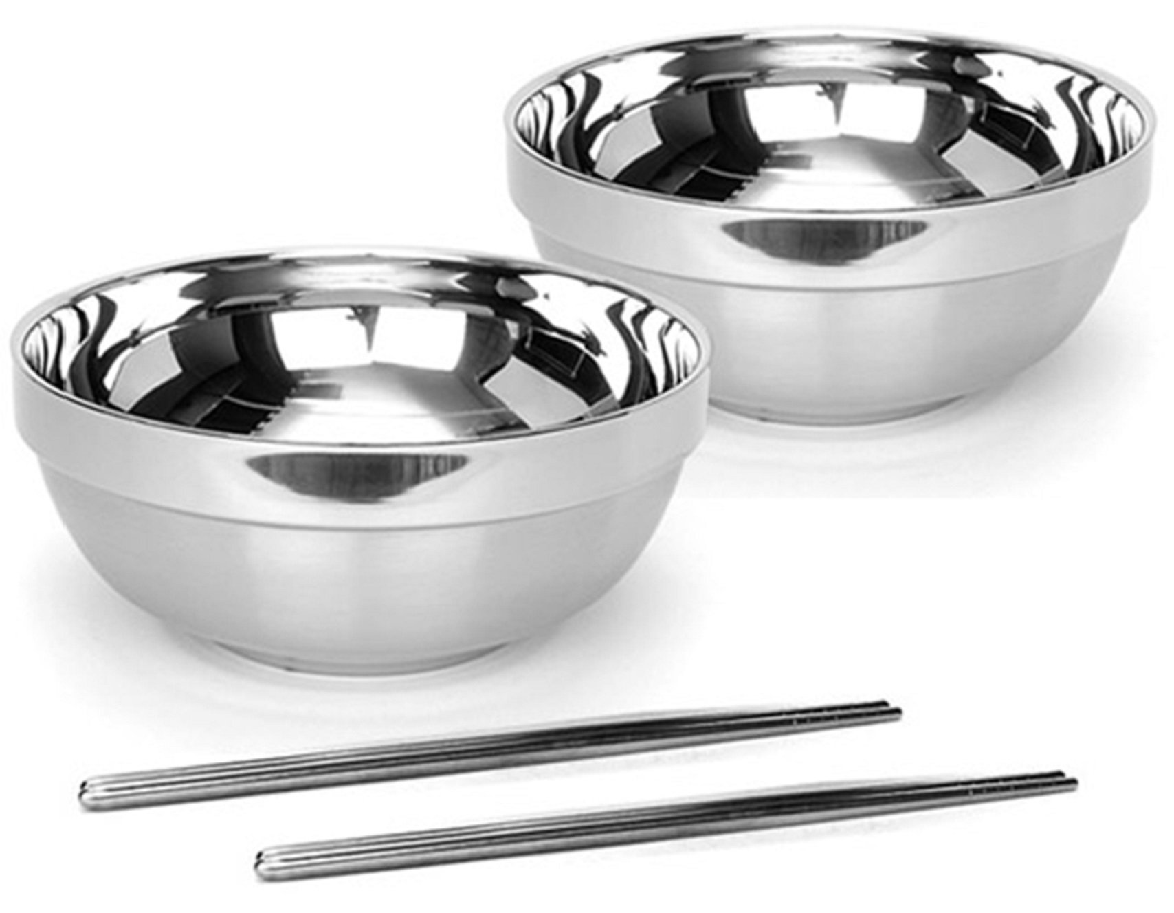 Vacuum Insulated Double Skin Stainless Steel Korean Traditional Naengmyeon Bibimbap Bowl 2 pcs 7.1 inches With Chopsticks